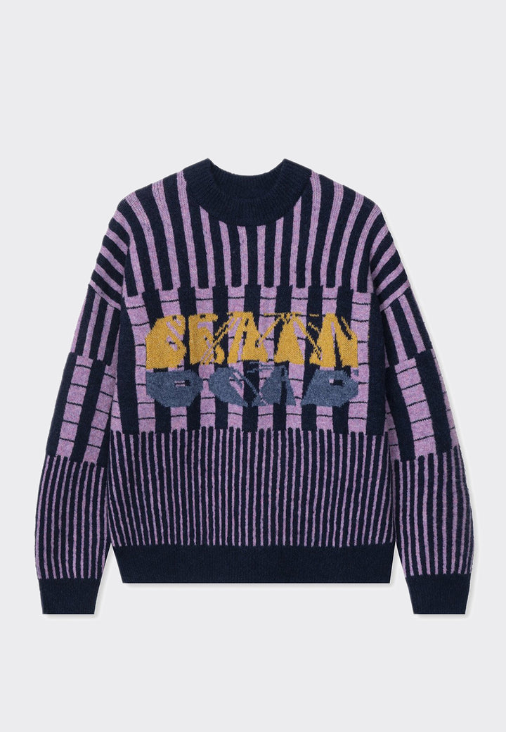 Varied Stripe Mock Neck Sweater - navy multi