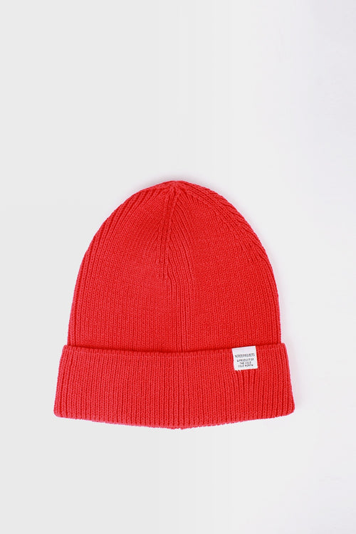 Norse Projects Cotton Watch Beanie - askja red - Good As Gold