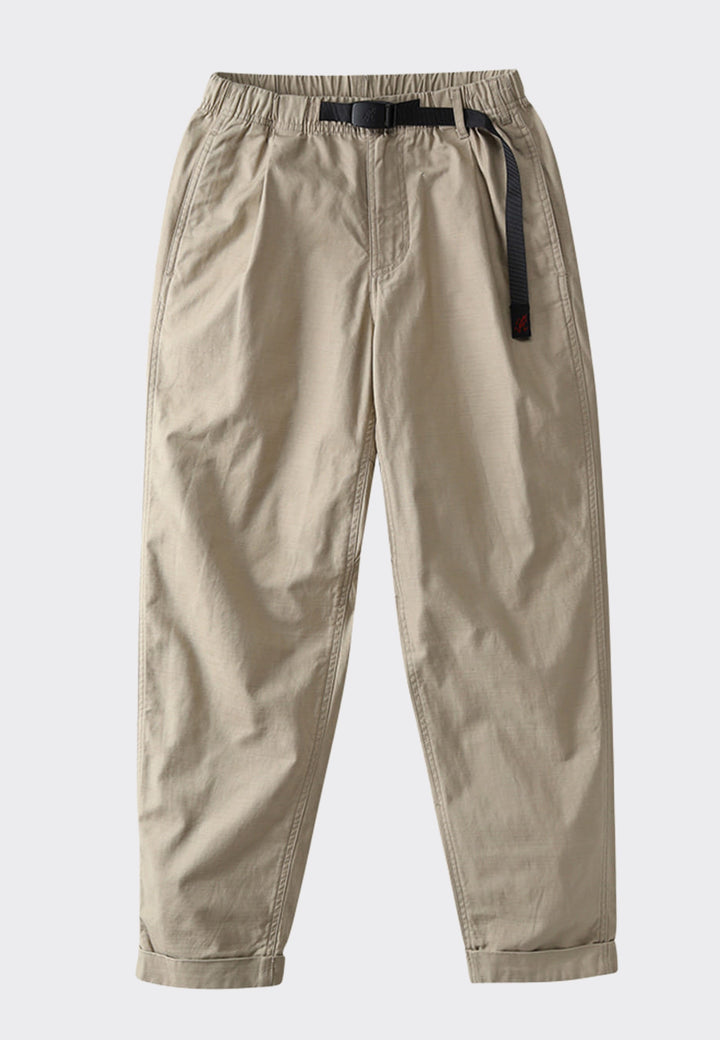 Tuck Tapered Back Satin Pants - desert