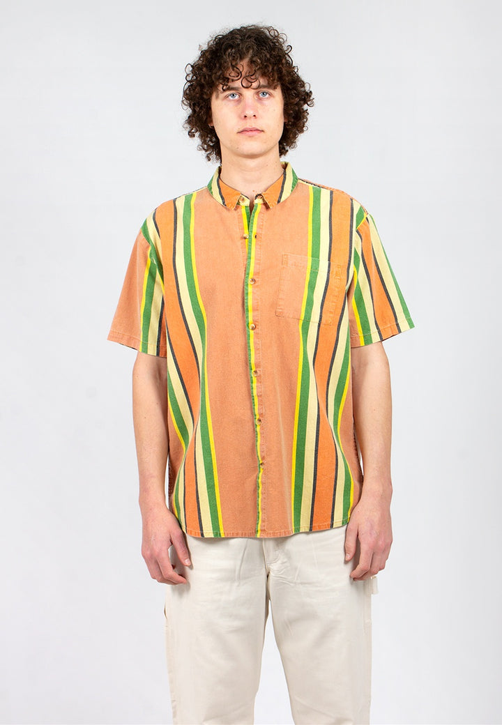 Rollas | Bon Shirt Fast Time Stripe - orange stripe | Good As Gold, NZ