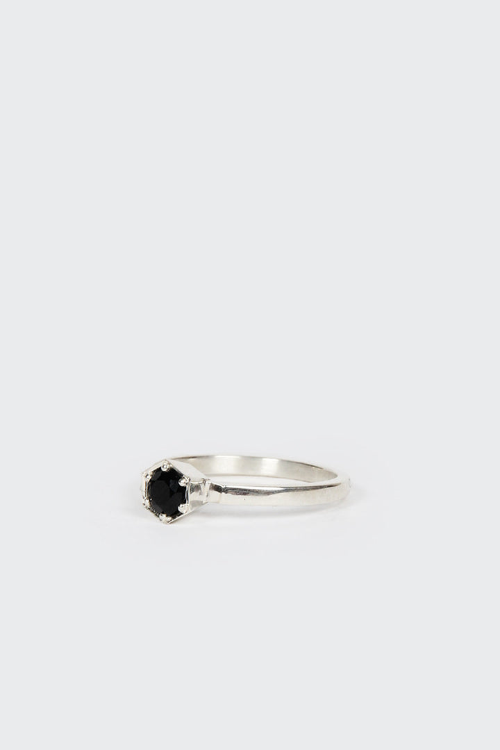Meadowlark, Hexagon Solitaire RIng, silver/black sapphire | GOOD AS GOLD | NZ
