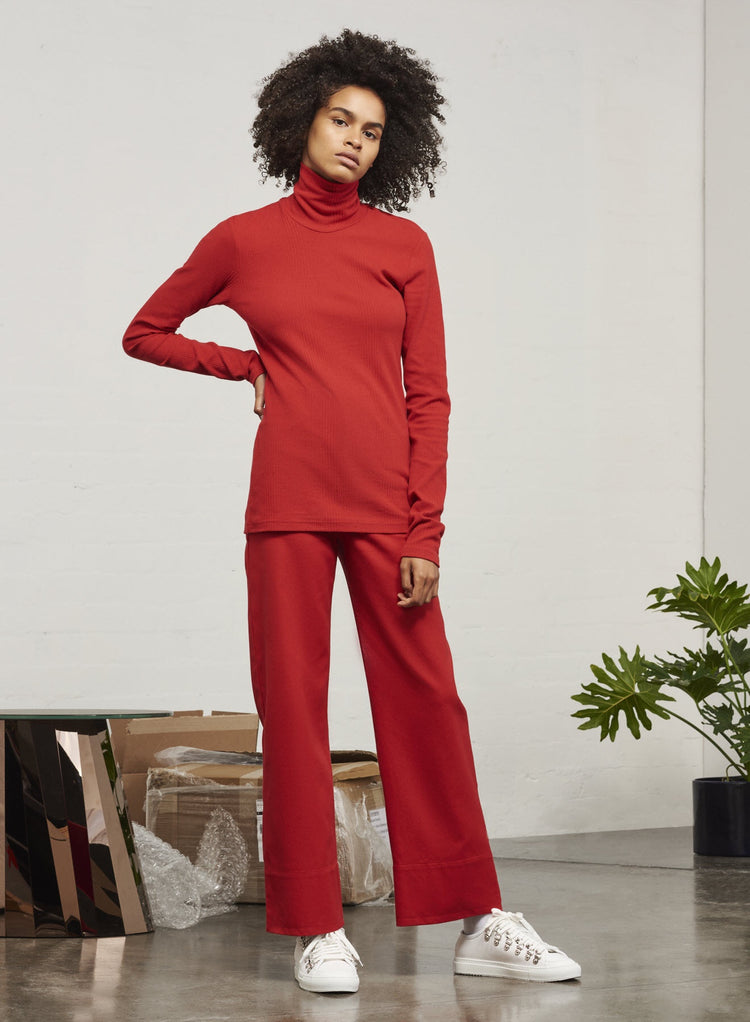 Kowtow Building Block Ladder Rib High Neck Top - red | GOOD AS GOLD | NZ
