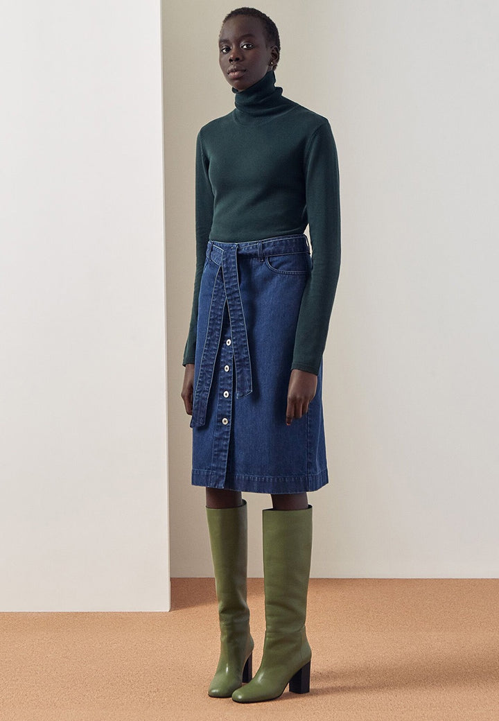 Kowtow Knit Roll Neck Sweater - bottle green — Good as Gold