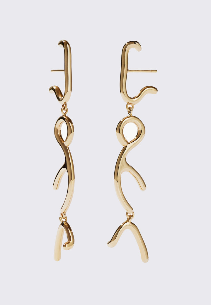 Sculpture Tiered Drop Earrings -  gold