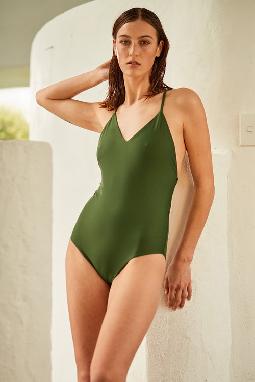 Swim Tie Back One Piece - ivy