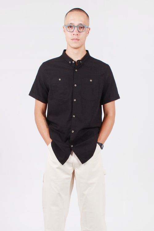 Rollas Men At Work Short Sleeve Shirt - black linen — Good as Gold