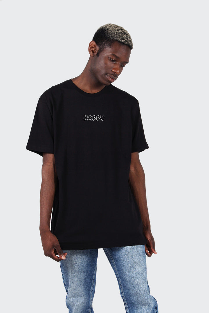 Good As Gold Happy T-Shirt - black/white | GOOD AS GOLD | NZ