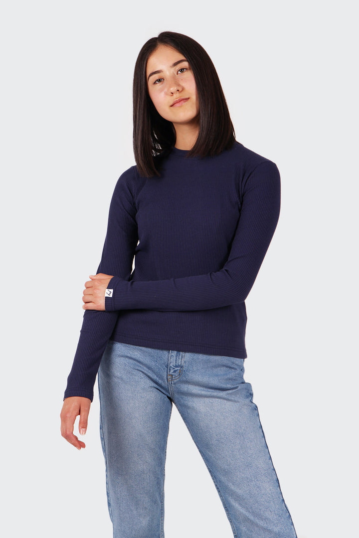 Good As Gold Classic Ribbed Long Sleeve T-Shirt - navy | GOOD AS GOLD | NZ