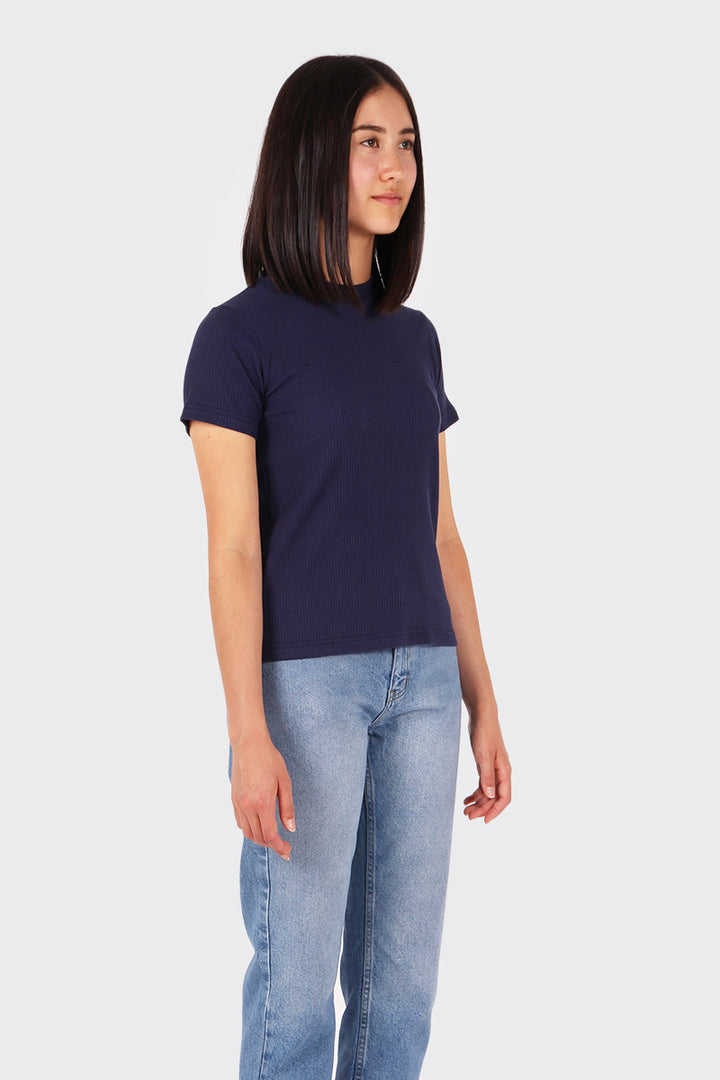 Good As Gold Classic Ribbed T-Shirt - navy | GOOD AS GOLD | NZ