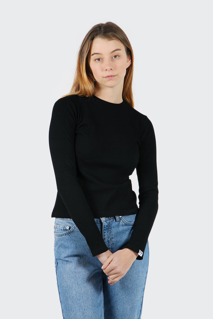 Good As Gold Classic Ribbed Long Sleeve T-Shirt - black | GOOD AS GOLD | NZ