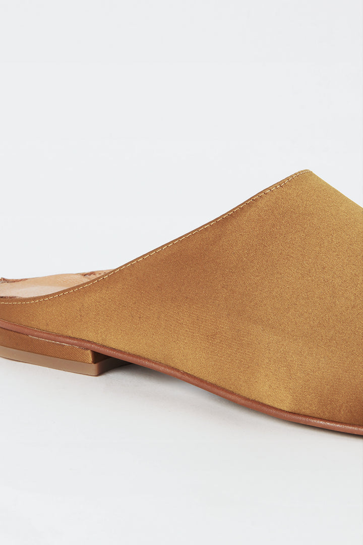 Intentionally Blank Library Mule - mustard satin | GOOD AS GOLD | NZ