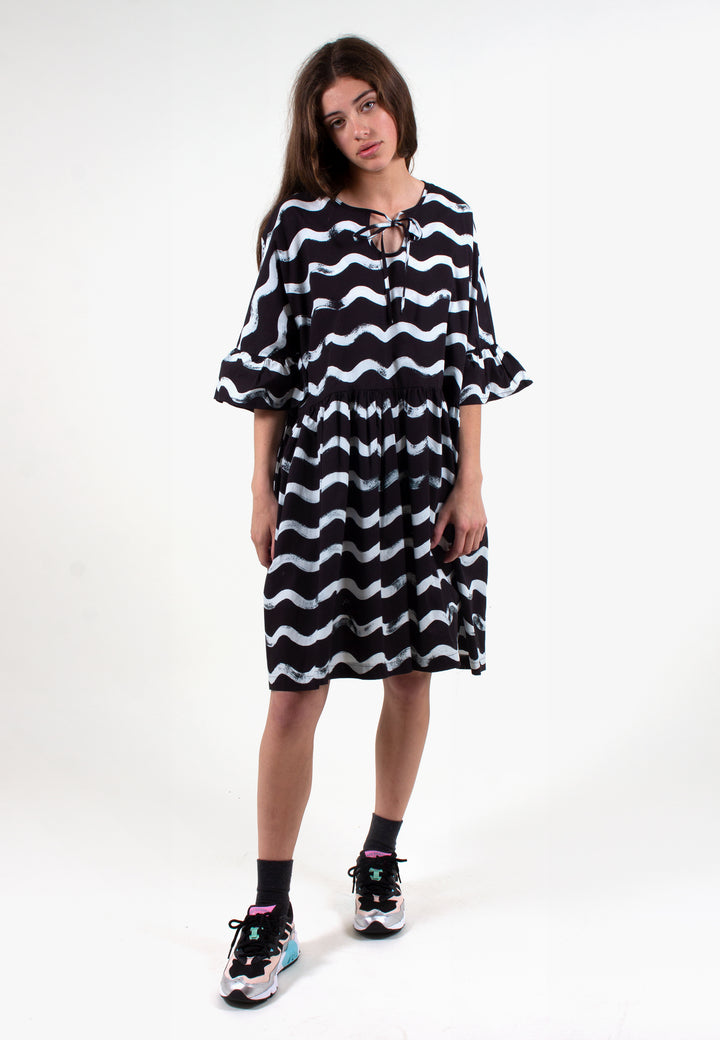 Frill Tent Dress Squiggles - black/white
