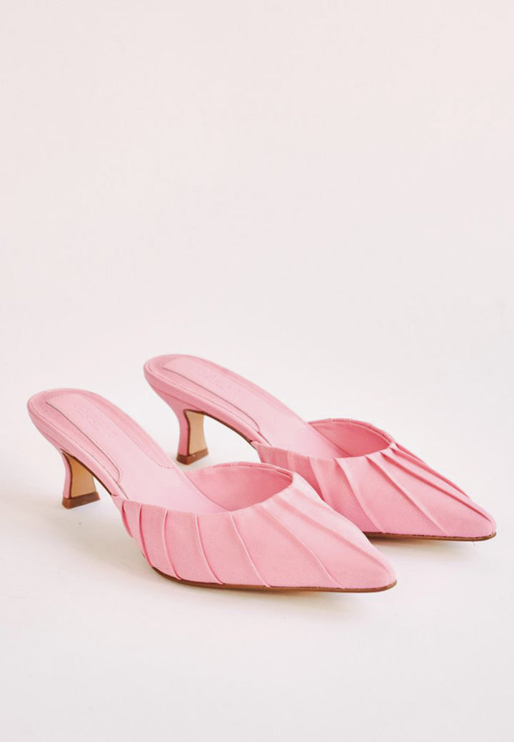 Ruched Kitten Heel - candy pink