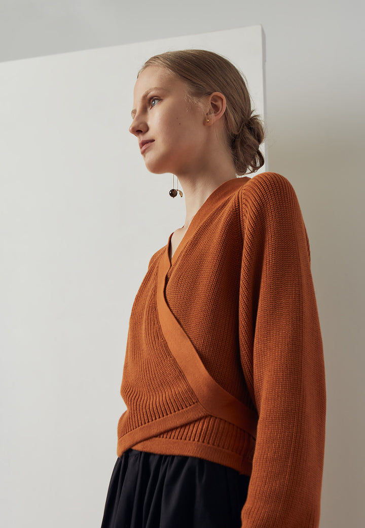 Kowtow Composure Cardigan - rust — Good as Gold