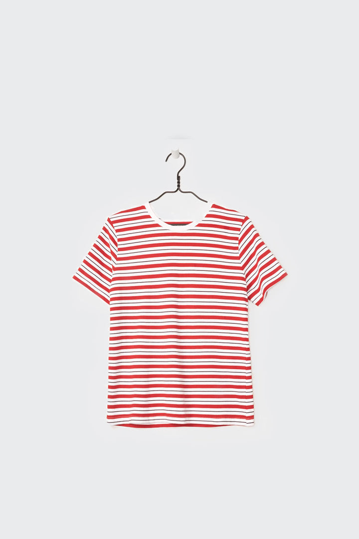 Kowtow Building Block Classic Fit T-Shirt - red stripe | GOOD AS GOLD | NZ