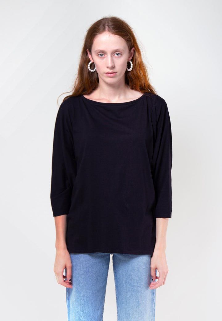 Building Block Relaxed Boat Neck Top - black