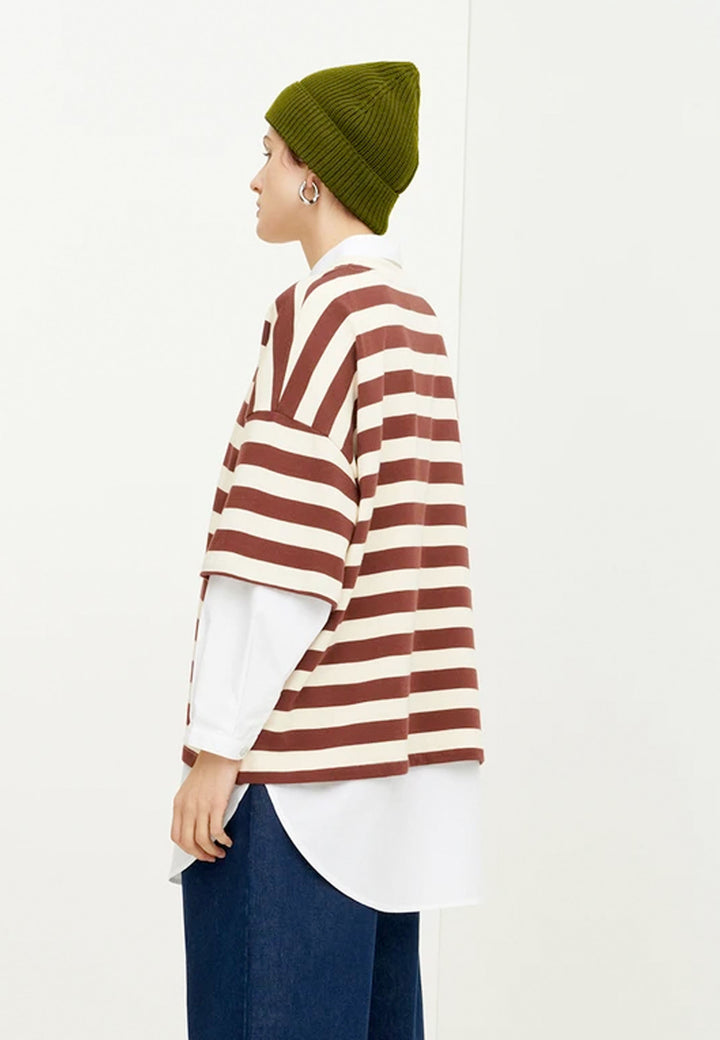 Building Block Oversized Boxy T-Shirt - mahogany stripe