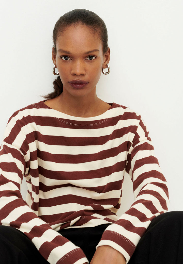 Building Block Breton Sweater - mahogany stripe