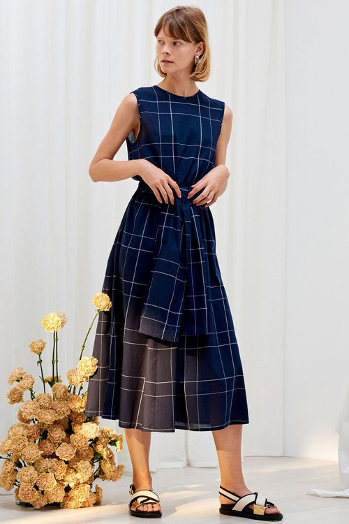 Kowtow Echo Dress - navy check – Good as Gold