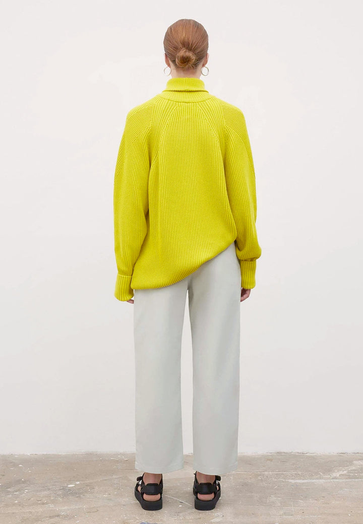 Henri roll Neck Jumper - acid yellow