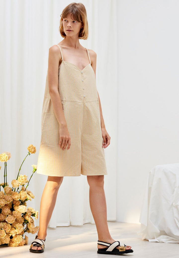 Kowtow Insight Jumpsuit - mustard stripe – Good as Gold