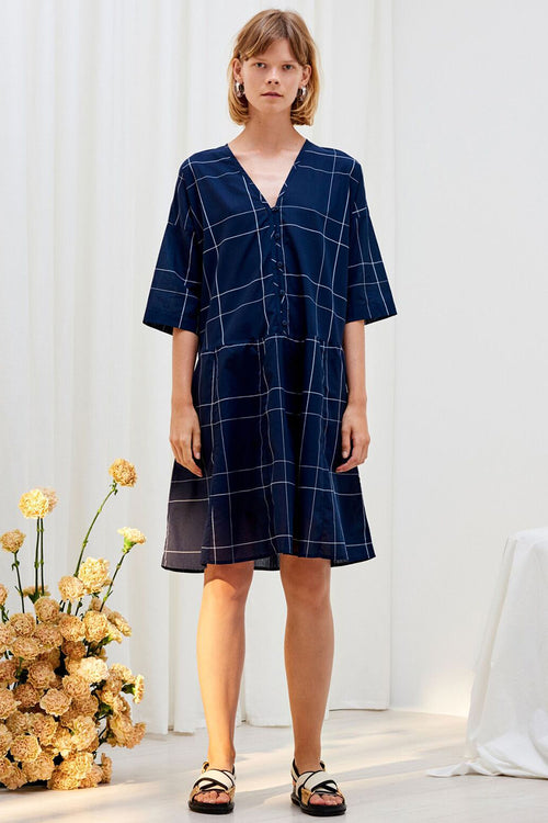 Kowtow Reflection Dress - navy check – Good as Gold