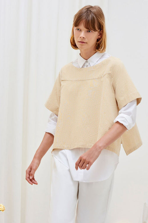 Kowtow Tidal Top - mustard stripe – Good as Gold