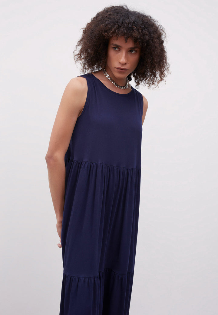 Building Block Tier Dress - navy