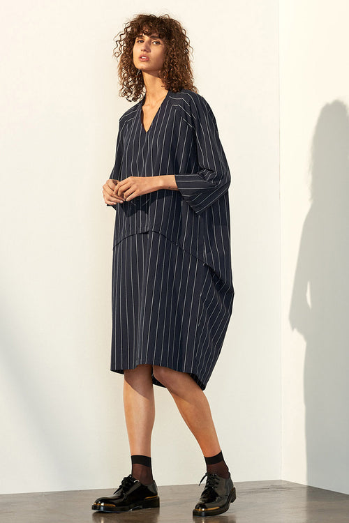 Kowtow Time Dress - pinstripe | GOOD AS GOLD | NZ