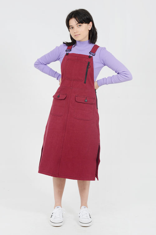 Lazy Oaf Contrast Stitch Pinafore Dress - red - Good As Gold