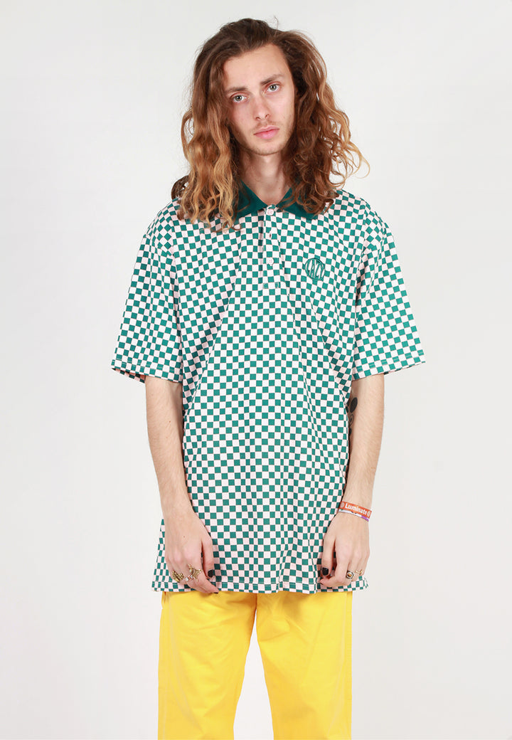Checkerboard Polo T-Shirt - pink/green check