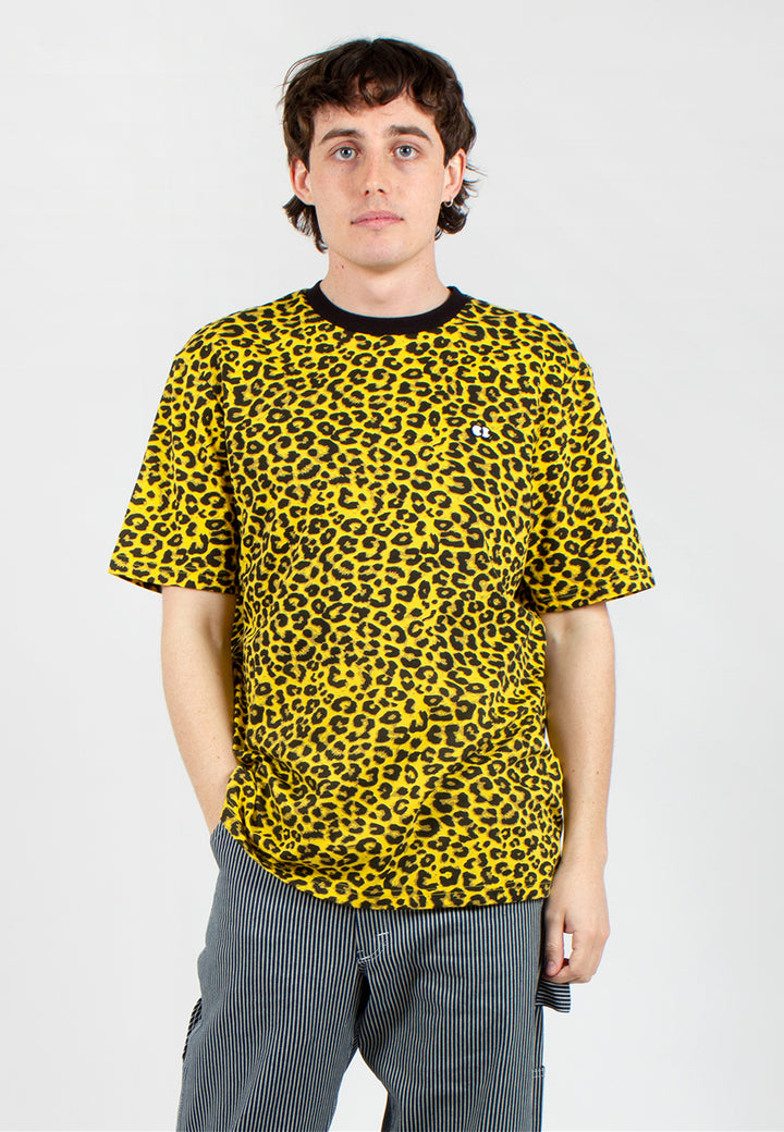Cyber Yellow Leopard Print T-Shirt - yellow