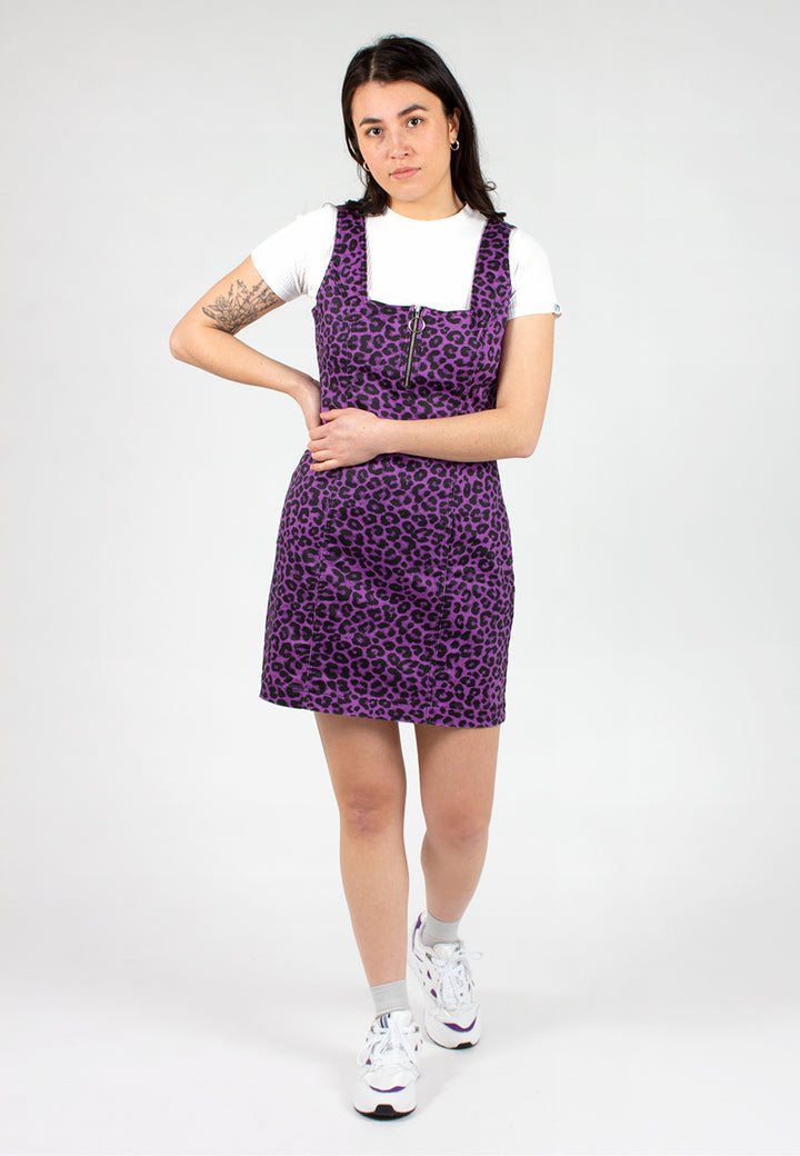 Leopard Zip Up Dress - purple