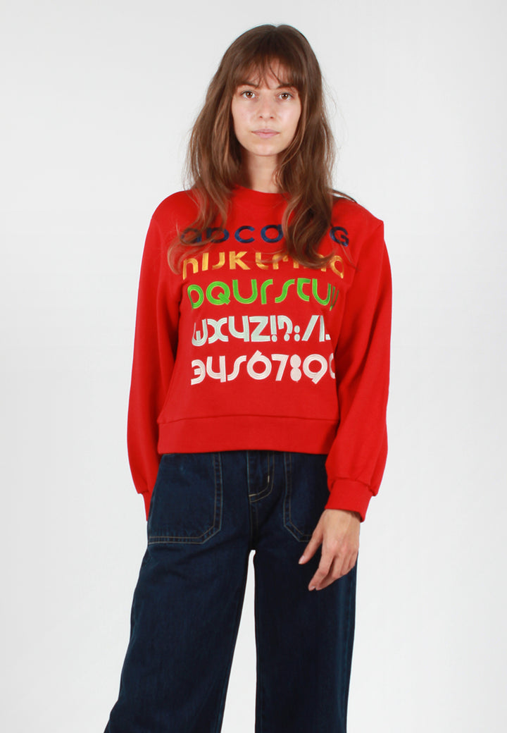 Alphabet Sweater - red