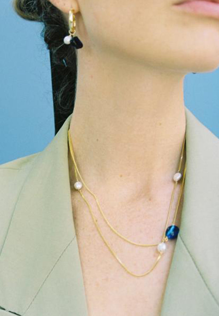 Triple Necklace - Gold/Pearl