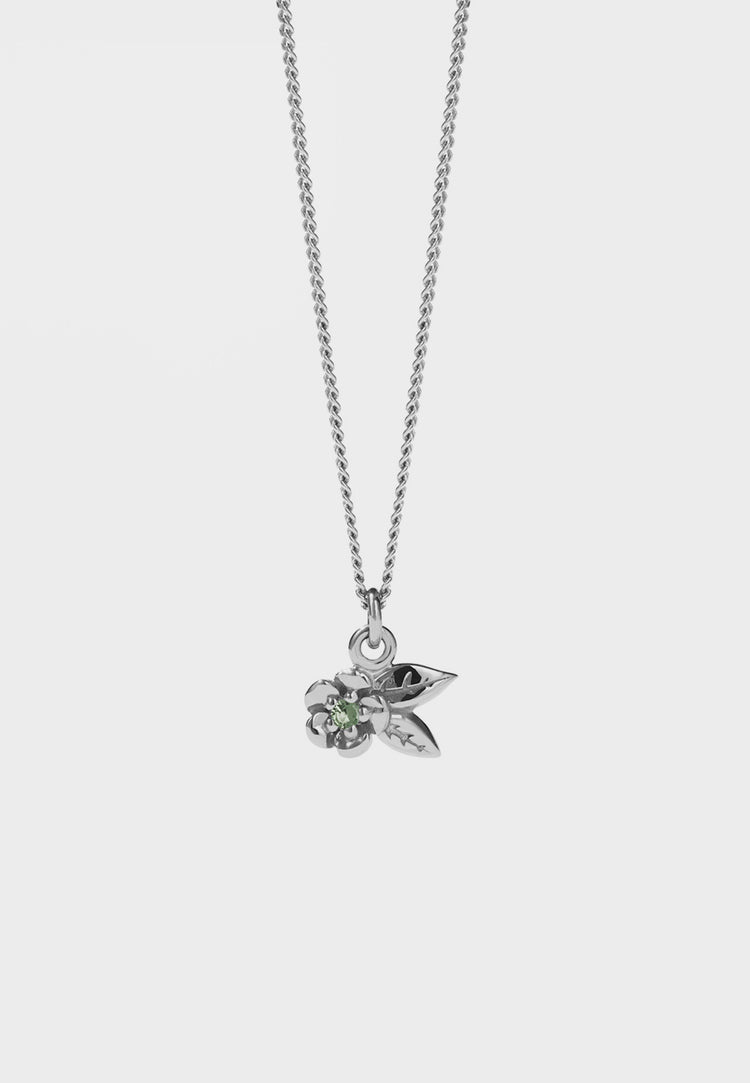 Alba Charm Necklace With Stone - silver/green sapphire