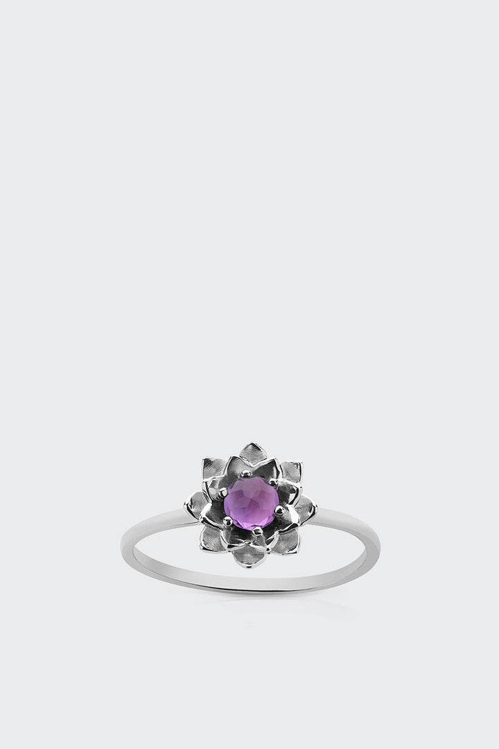Meadowlark Protea Stacker Ring With Stone - silver/amethyst | GOOD AS GOLD | NZ