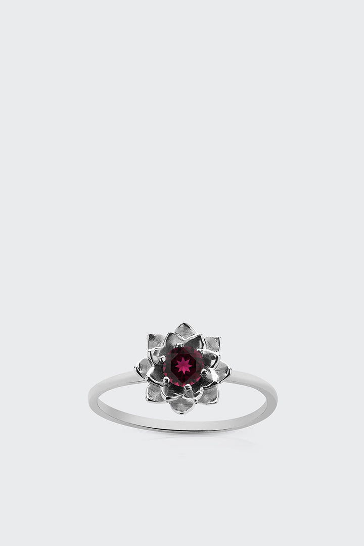 Meadowlark, Protea Stacker Ring with Stone - silver/rhodolite garnet | GOOD AS GOLD | NZ
