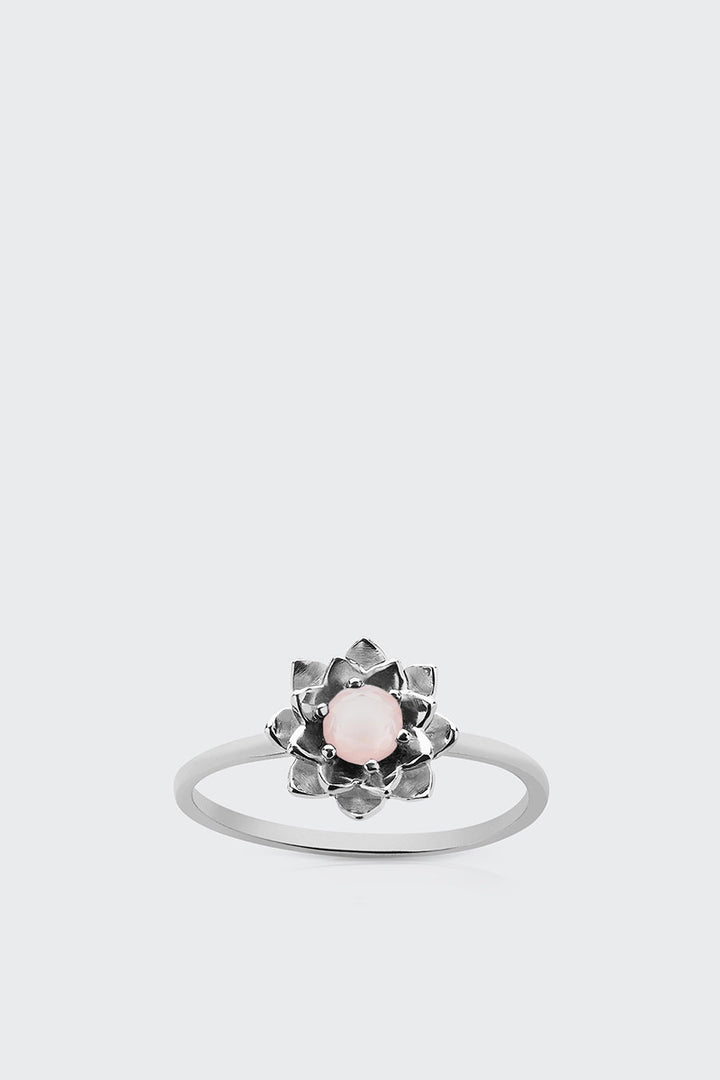 Meadowlark, Protea Stacker Ring With Stone - silver/rose quartz | GOOD AS GOLD | NZ