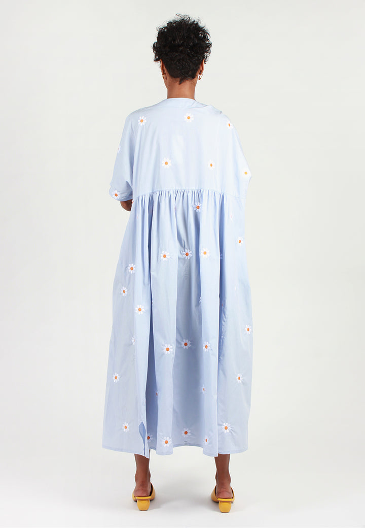 Nadine Embroidered Short Sleeve Dress - blue flower