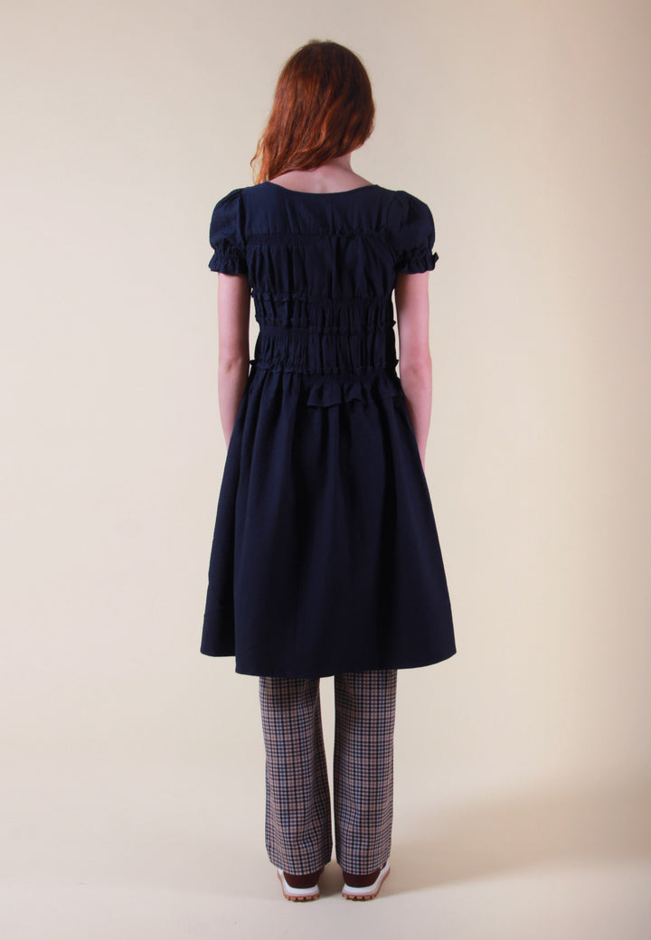 Puff Sleeve Smocked Seersucker Dress - navy