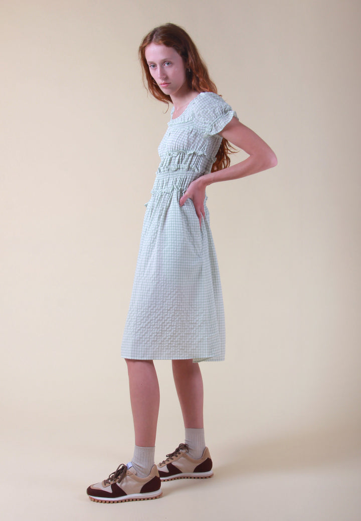 Puff Sleeve Smocked Dress - pastel green/gingham check