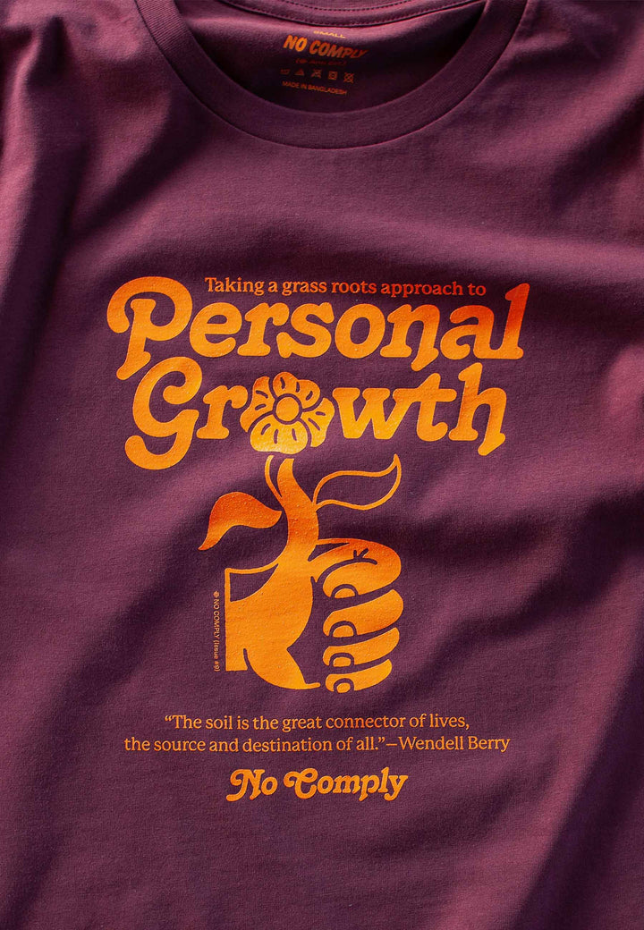 Womens Personal Growth T-Shirt - maroon/orange