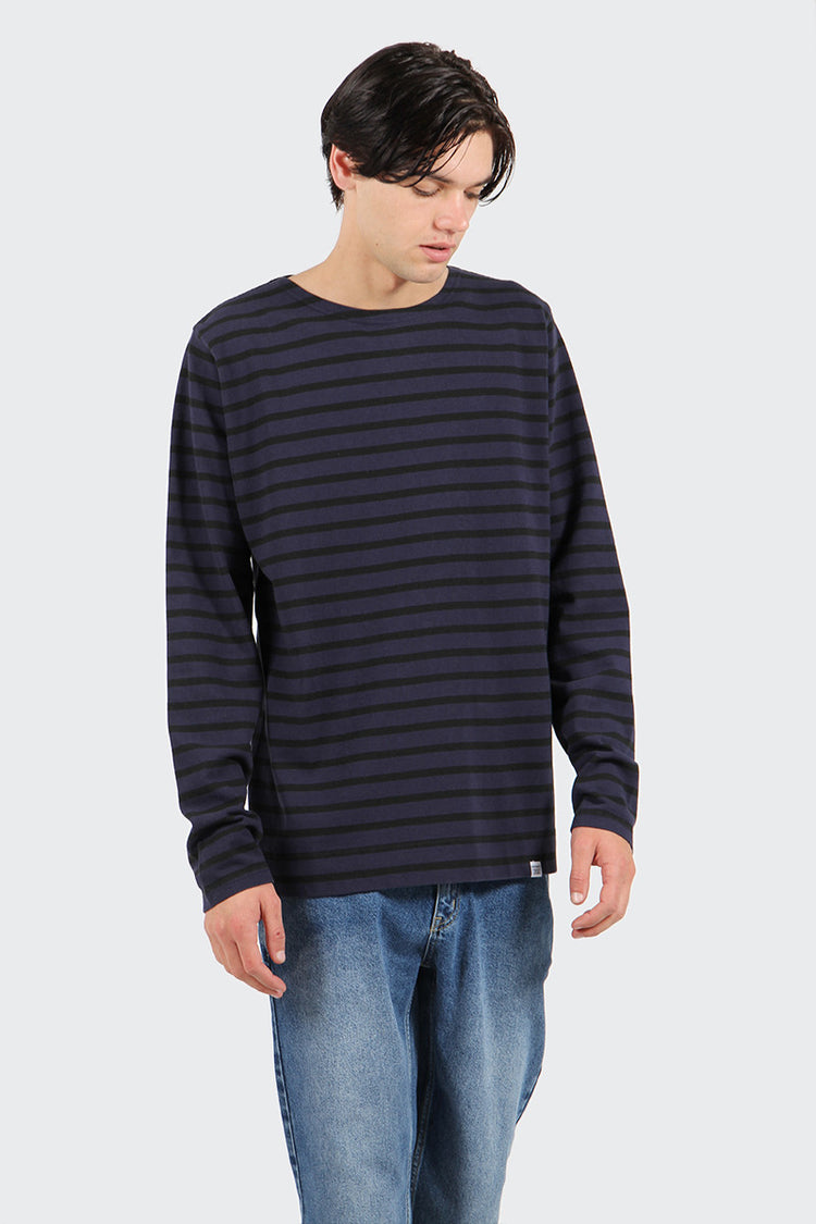 Norse Projects Godtfred Compact Overdye Long Sleeve T-Shirt - navy | GOOD AS GOLD | NZ