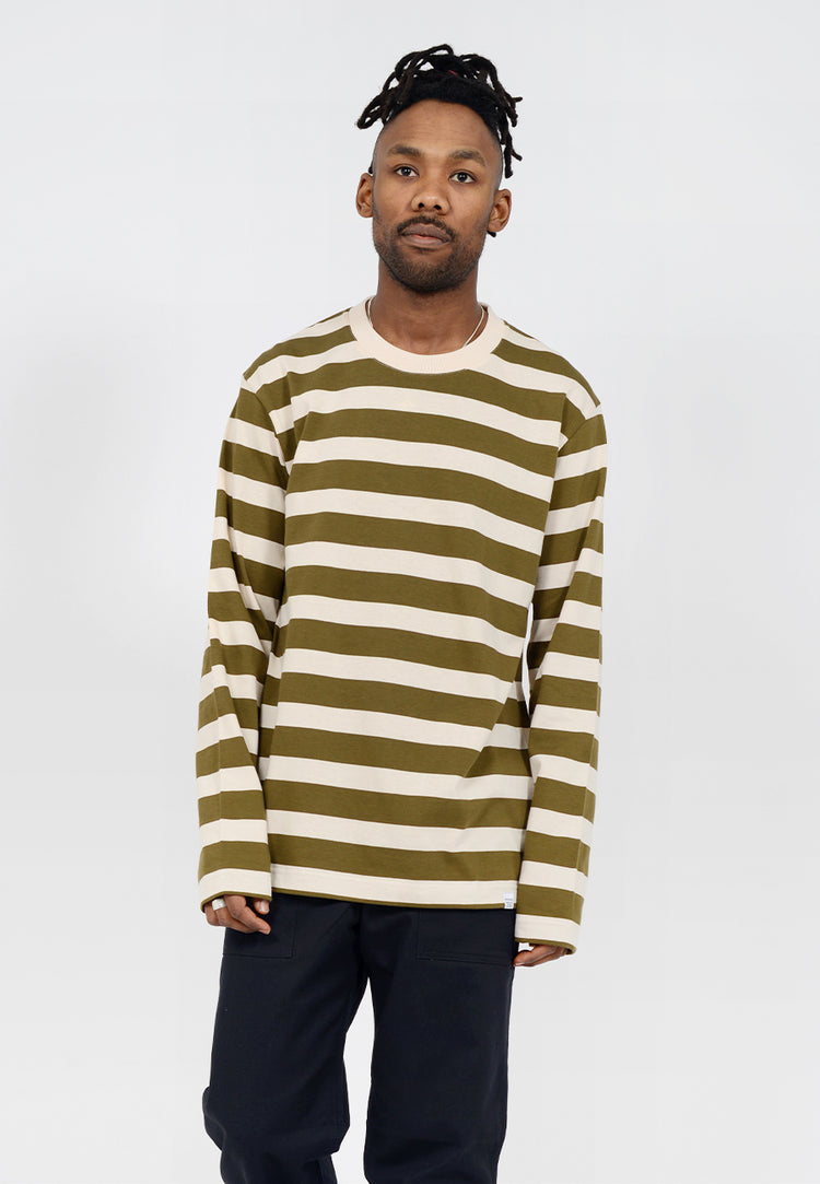 Johannes Rugby Stripe Long Sleeve T-Shirt - sitka green
