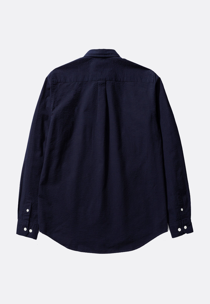 Thorsten Seersucker Shirt - dark navy