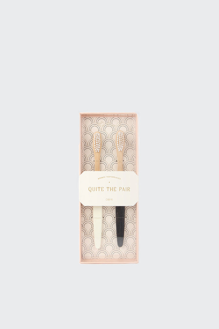 Odeme Bamboo Toothbrush Set - cream/black | GOOD AS GOLD | NZ