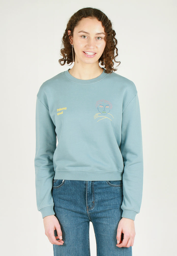 Hotel Face Sweater - soft blue