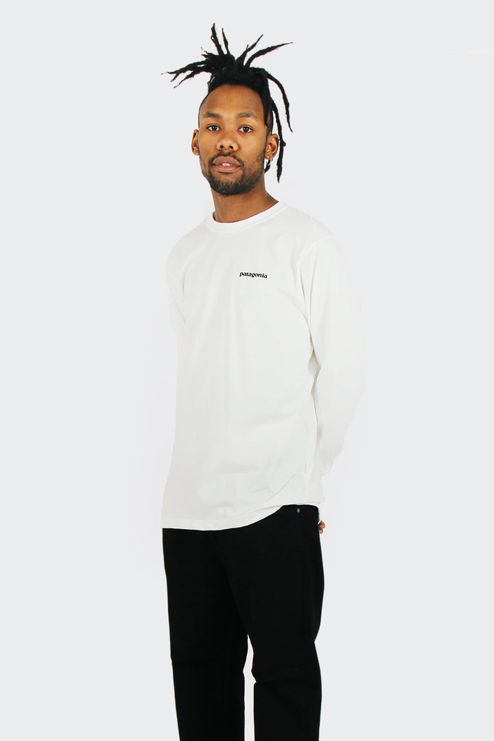 Patagonia P-6 Logo Long Sleeve T-shirt - white | GOOD AS GOLD | NZ