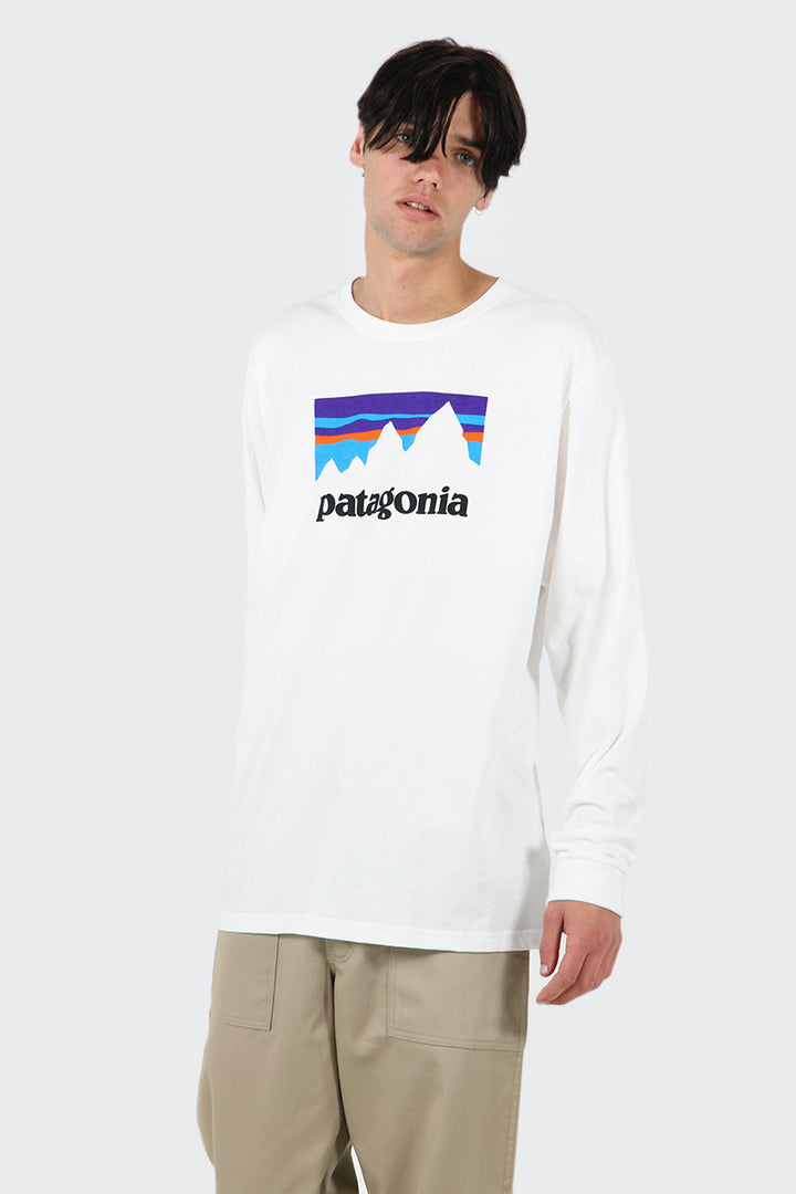 Patagonia Shop Sticker Long Sleeve T-Shirt - white | GOOD AS GOLD | NZ